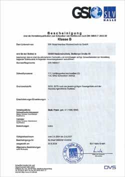 Zertifikat DIN 18800-7:2002-09 Klasse B
