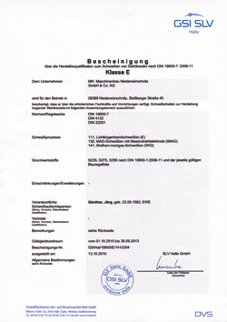 Bescheinigung über die Herstellerqualifikation zum Schweißen von Stahlbauten nachDIN 18800-7:2008-11